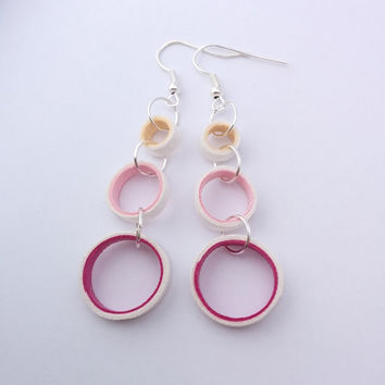 Pink paper quilled earrings, pink earrings, circle earrings, paper earrings, lightweight earrings