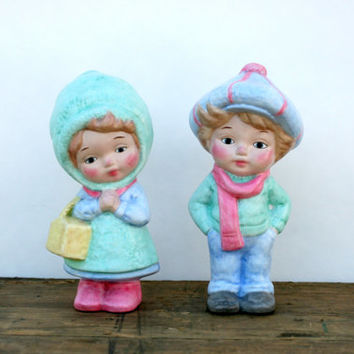 Vintage Winter Boy and Girl Ceramic Figures - Painted Cute Couple Figure - Winter Children Ceramic Figure - Christmas Ceramic Kids