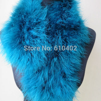 free shipping/ Real ostrich feather fur Wrap fashion scarf//size 70cm*14cm Peacock blue
