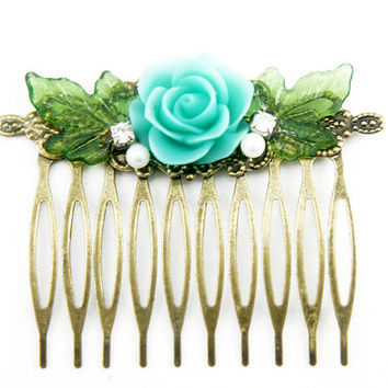 Baby Blue English Rose Flower Rhinestone Collage Comb - Victorian Style Flower Collage Hair Comb - Bridesmaids Gifts Idea - VCC028