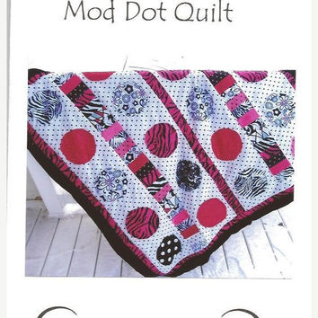 Clearance Sale 65% Off Quilt PATTERN, Baby, Applique Mod Dot, Quilt as you Go, SEWING Instructions, Mailed