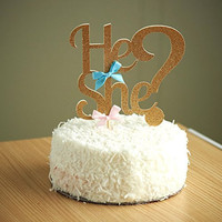 Gender Reveal Party Decor. He or She Cake Topper.
