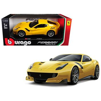 Ferrari F12 TDF Yellow 1:24 Diecast Model Car by Bburago