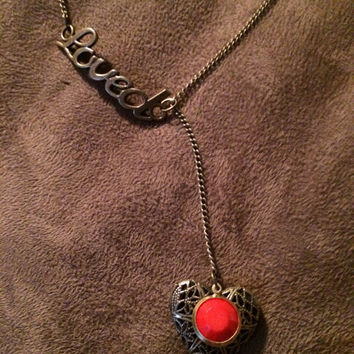 Red Loved Heart Essential Oil Diffuser Locket~Necklace~Aromatherapy