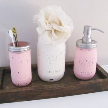 Bathroom Mason Jars, Shabby Chic Bathroom Decor, Distressed Painted Jars, Set of 3, Bathroom Decor, Rustic Bathroom, Country Bathroom Set