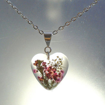 Pink Heather and Wildflower Real Pressed Flower Resin Heart Pendant Necklace