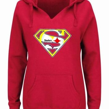 Women's Winter Steeler Fans Hoodies New Design Pittsburgh Sweatshirts Superman S Logo Picture Print Fashion Tops V-neck Pullover