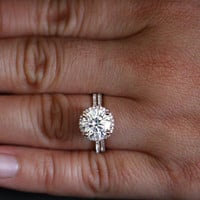 Rose Gold Moissanite Engagement Ring Wedding Ring Set in 14k Gold with Forever Brilliant Moissanite Round 9mm and Diamond Ring Wedding Set