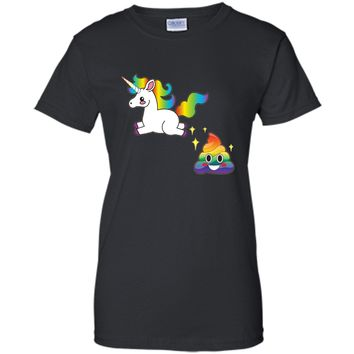 Funny Emoji Unicorn Poop T-Shirt - Cute Rainbow Sparkle Poo