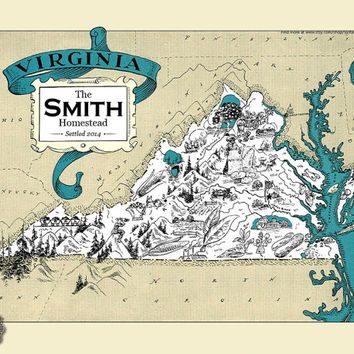 Personalized Virginia Map VA Map Print Vintage Map Retro Custom Map Wedding Housewarming Gift Home Decor Wall Decor Antique State Map