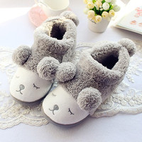 Cute Sheep Warm Winter Women men Couples Home Slippers For Indoor House Bedroom Plush Shoes Soft Bottom Flats Christmas Gift