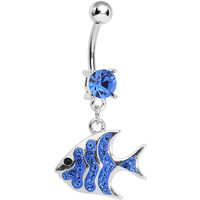 Blue Gem Paved Brilliant Fish Dangle Belly Ring | Body Candy Body Jewelry