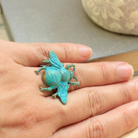 Bumblebee Ring Honey Bee Statement Ring Aqua Tuquoise Blue Patina Insect Wings Nature Inspired Adjustable Cocktail Ring Antique Gold Brass