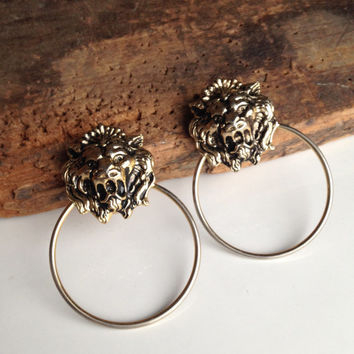 Lion Earrings, Vintage Earrings, Post Earrings, Animal Earrings, Etsy, Etsy Jewelry, Etsy Vintage