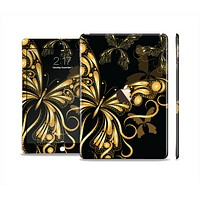 The Vibrant Gold Butterfly Outline Skin Set for the Apple iPad Air 2
