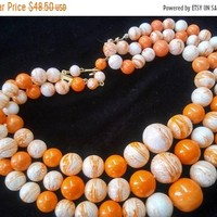 ON SALE Stunning Orange & White 3 Multi Strand Lucite Beaded 1960's 1950's Necklace, Mad Men Mod Era, Retro Rockabilly Fashion Jewelry