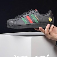 ADIDAS X GUCCI Bee Superstar One soft soled shoes B-CSXY Black