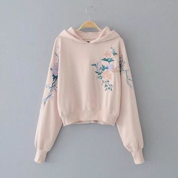 BUY LIFE 2017 all-match Flower embroidery Women hooded sweatshirt bts unicorn hoodies harajuku kawaii clothing moletom vadim