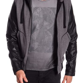 Rogue by Reilly Olmes Faux Leather Sleeved Hooded Jacket