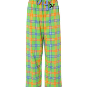 Monogram Flannel Pajama Pants Tropical Green and Orange Plaid Personalized Christmas Gift Under 30 Dollars