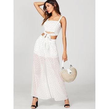 White Zip Back Crop Top And Semi Sheer Palazzo Pants Set