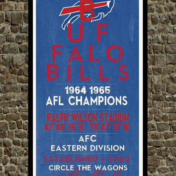 Buffalo Bills - Eye Chart chalkboard print - sports, football, gift for fathers day, subway sign - Eyechart wall art