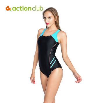Actionclub Popular Women's One Piece Sport Swimwear Push Up Bathing Suit Cut Up Sexy Black Plus Size Swimsuit XL WS461