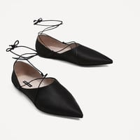 LACE-UP FLAT SATIN SHOES DETAILS