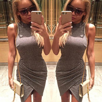 Sexy Bodycon Sleeveless Wrinkle Elastic Slim fit Short dresses