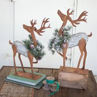 Rustic Galvinized Reindeer with Faux Pine Wreaths (Set of 2)