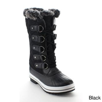AA48 Women's Shoes Lace Up Waterproof Quilted Mid Calf Weather Snow Boots