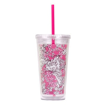 Monogram Lilly Pulitzer Alpha Phi Sorority Tumbler Cup with Straw Big Little Gift bid Day Photo with mongram coming soon