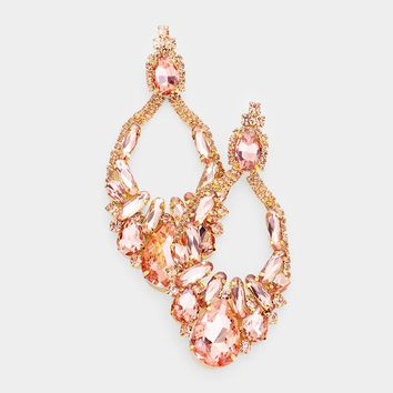 Pave Crystal Cluster Evening Earrings