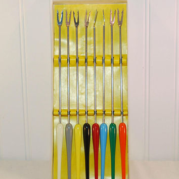Vintage 8 Piece Fondue Fork Set (c. 1950's-1970's) Stainless Steel, Colorful Plastic Handles, Made In Japan, Retro Dinner Fun, Mid Century