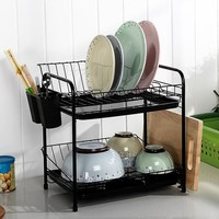 Dish Rack Set 2-Tier Chrome Kitchen Organizer Tools Plate Spoon Storage Frame Steel Drain Bowl Rack Kitchen Dish Shelf
