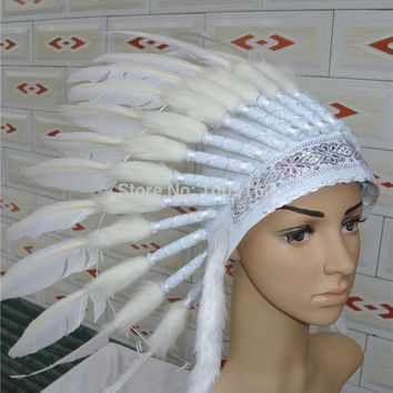 Chief Indian feather Headdress American costumes indian War Bonnet indian feather headdress for party supplies decor