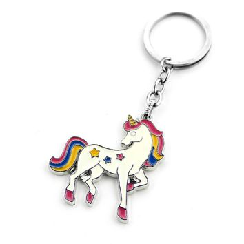 Cartoon Animal Keyring Unicorn Creative Keychain Cute Mini Key Chain Bag Pendant