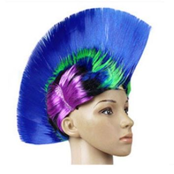 Shiny Cockscomb Hair Punk Hair Cap Bright Wig shiny rainbow sapphire blue1