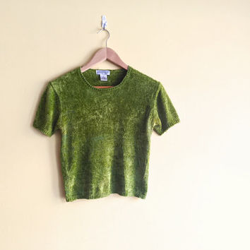 Vintage 90s Green Fuzzy Crop Top