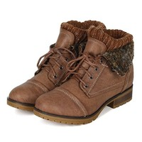 Refresh BH47 Women Leatherette Sweater Knit Fold Down Fur Trim Combat Bootie - Taupe (Size: 8.0)