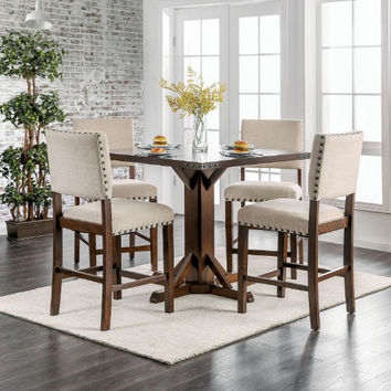 Furniture of america CM3018PT-5PC 5 pc Glenbrook industrial brown cherry finish wood square counter height dining table set