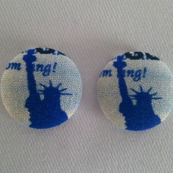 Fourth of July Statue of Liberty button earrings by ButtonUpp
