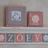 "Lamb Nursery Name Letters, Lamb Baby Name Blocks, 6 Coral / Gray Personalized Name Plaques for ZOEY with Lambs, 24"" Linen (off white) Shelf"