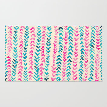 Hand Painted Herringbone Pattern in Pink & Turquoise Rug by Tangerine-Tane