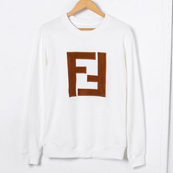 Fendi Autumn And Winter New Fashion Bust Letter Print Women Men High Quality Long Sleeve Sweater Top White