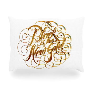 "Roberlan ""Black is the New Gold"" Typography Oblong Pillow"
