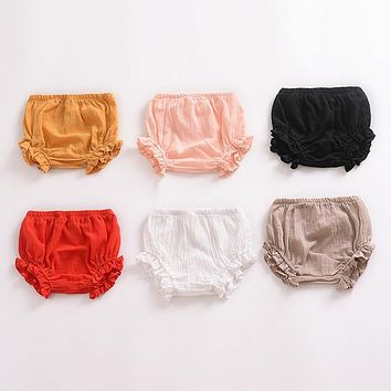Summer New Baby Chiffon Fashion Casual Large PP Shorts Infant Solid Color Cotton Linen Bloomers Toddler Girls Bread Pants