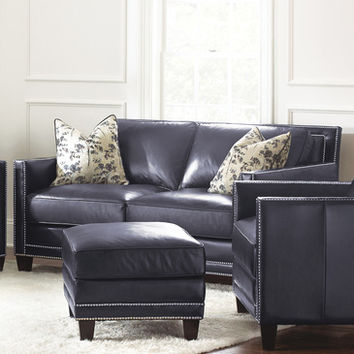 Steve Silver Hendrix Loveseat w/2 Accent Pillows in Navy Blue Leather