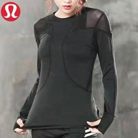 Lululemon New fashion solid color women sports leisure long sleeve top sweater Black