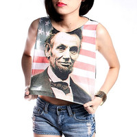 Abraham Lincoln Crop Top Tank Shirt Cropped Tops S M L